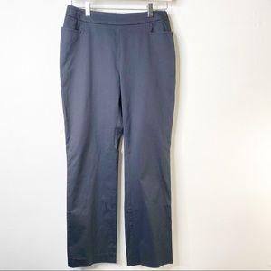 Akris Flat Front Navy Blue Ankle Pants Size 10